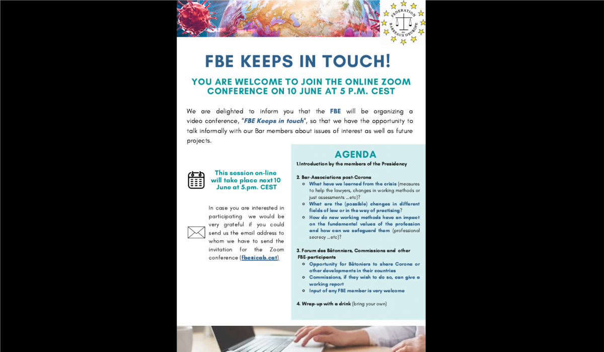 """Videoconference for all FBE members""""FBE Keeps in touch"""" 10th June 2020"""