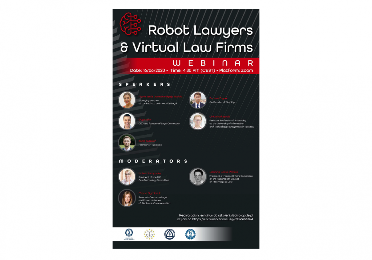 "Webinar ""Robot Lawyers & Virtual Law Firms"" – 16th June 2020, 4.30 PM (CEST)"