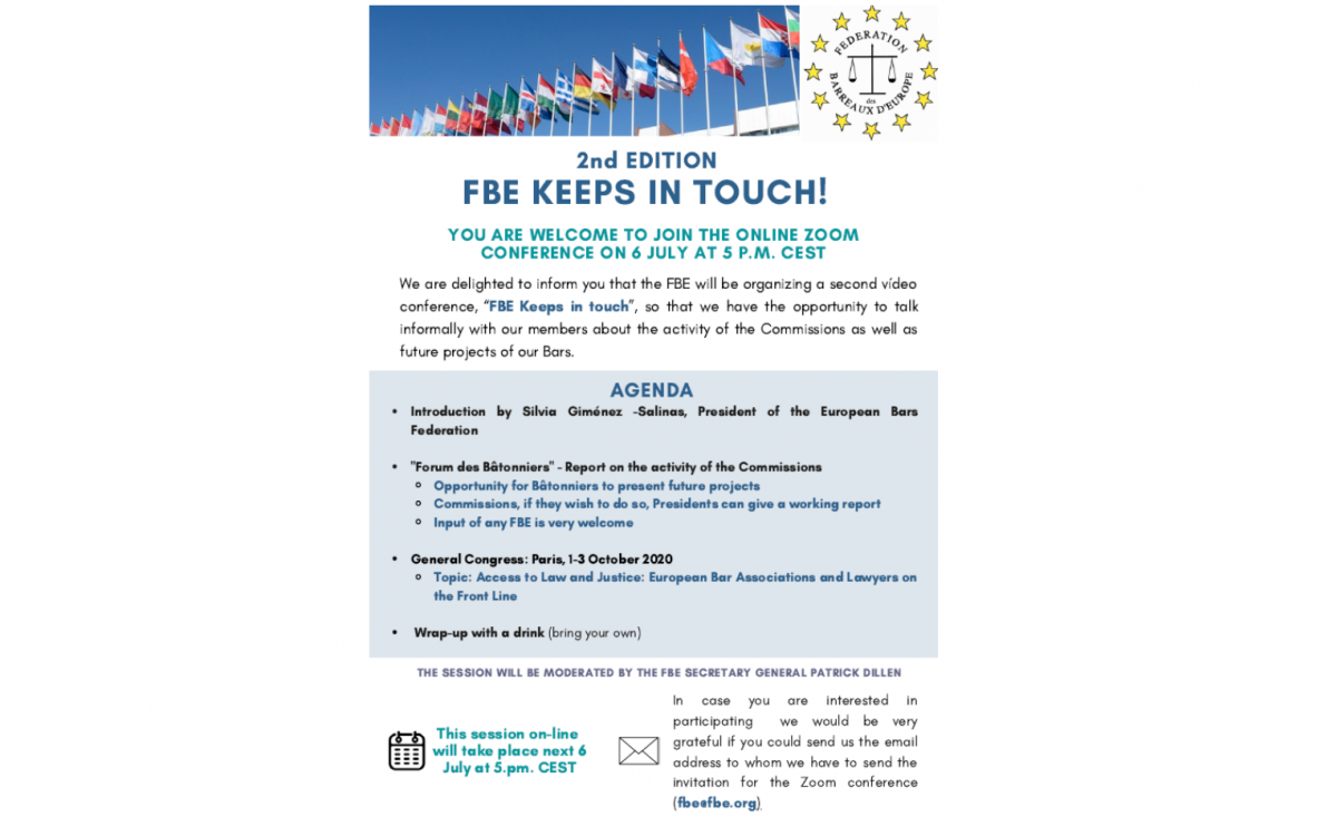 """Second videoconference for all FBE members""""FBE Keeps in touch #2"""" 6 July 2020"""